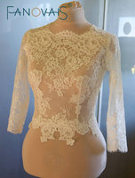 נעורים סקופ צוואר ארוך כפתורי שרוולים חזור דפוסי תחרה אפליקציות שנהב חתונת מעילי בולרו מעילי שמלות ערב