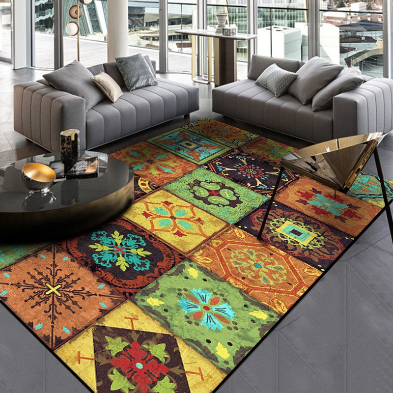 Bohemian Ethnic Style Carpets And Rugs European Geometric Flower Door Mat Living Room Bedroom Sofa Area Rugs Decorative Carpet