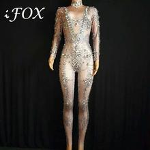 Bright Rhinestones Grid Pattern Jumpsuit Stretch Leggings Nightclub Singer Dancer Show Wear Womens Prom Party Sexy Bodysuit