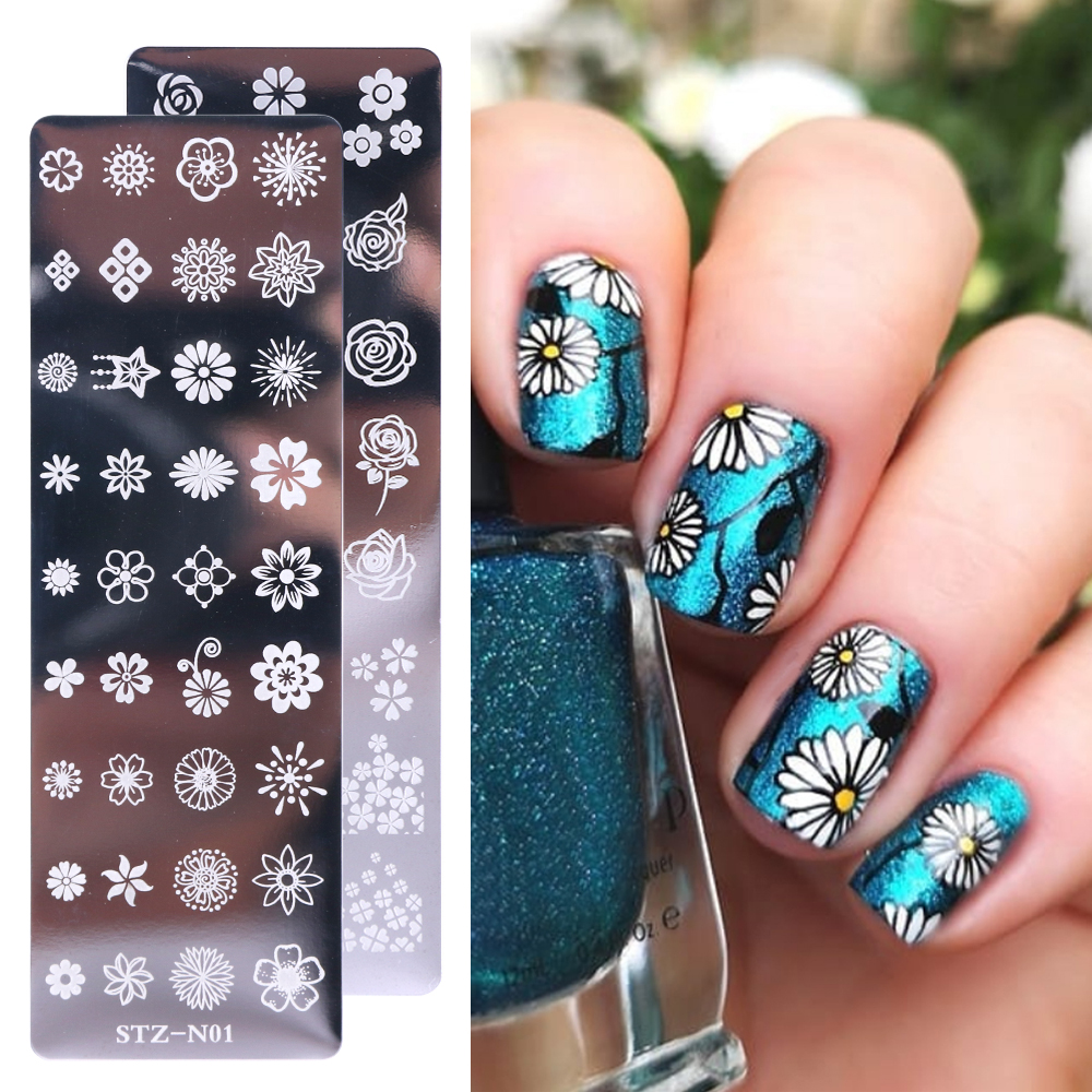 Image 3 - 1pcs Nail Stamping Plates Painting Image Stencils For Nails Florals Feather Leaf Butterfly Geometric Template Design LASTZN01 12-in Nail Art Templates from Beauty & Health