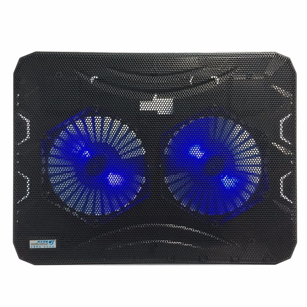 Double Cooling Fan LED Light Laptop Notebook Cooler Radiator Low Noise High Operation With Computer Stand Cooling Pad for PC