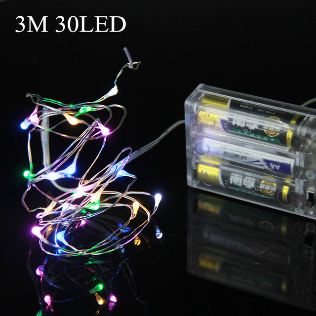 led christmas string lights 3m 30led copper wire led light battery powered christmas tree wedding party