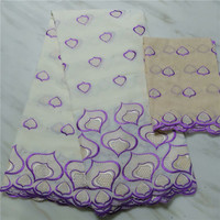 New arrival embroidery African cotton lace fabric with 2Y Swiss voile lace fabric for party dress ECV5(5+2y)