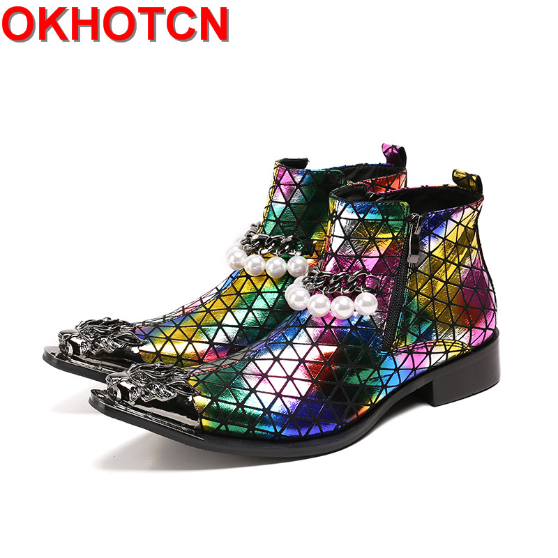 Fashion Metal Toe Ankle Boots Chain Pearl Decor Mens Zipper Boots Pointed Toe Colorful Leather Winter Men Dress Party Shoes choudory new winter men ankle italian shoes men leather shoes pointed toe mens black dress shoes sequined toe spiked loafers men