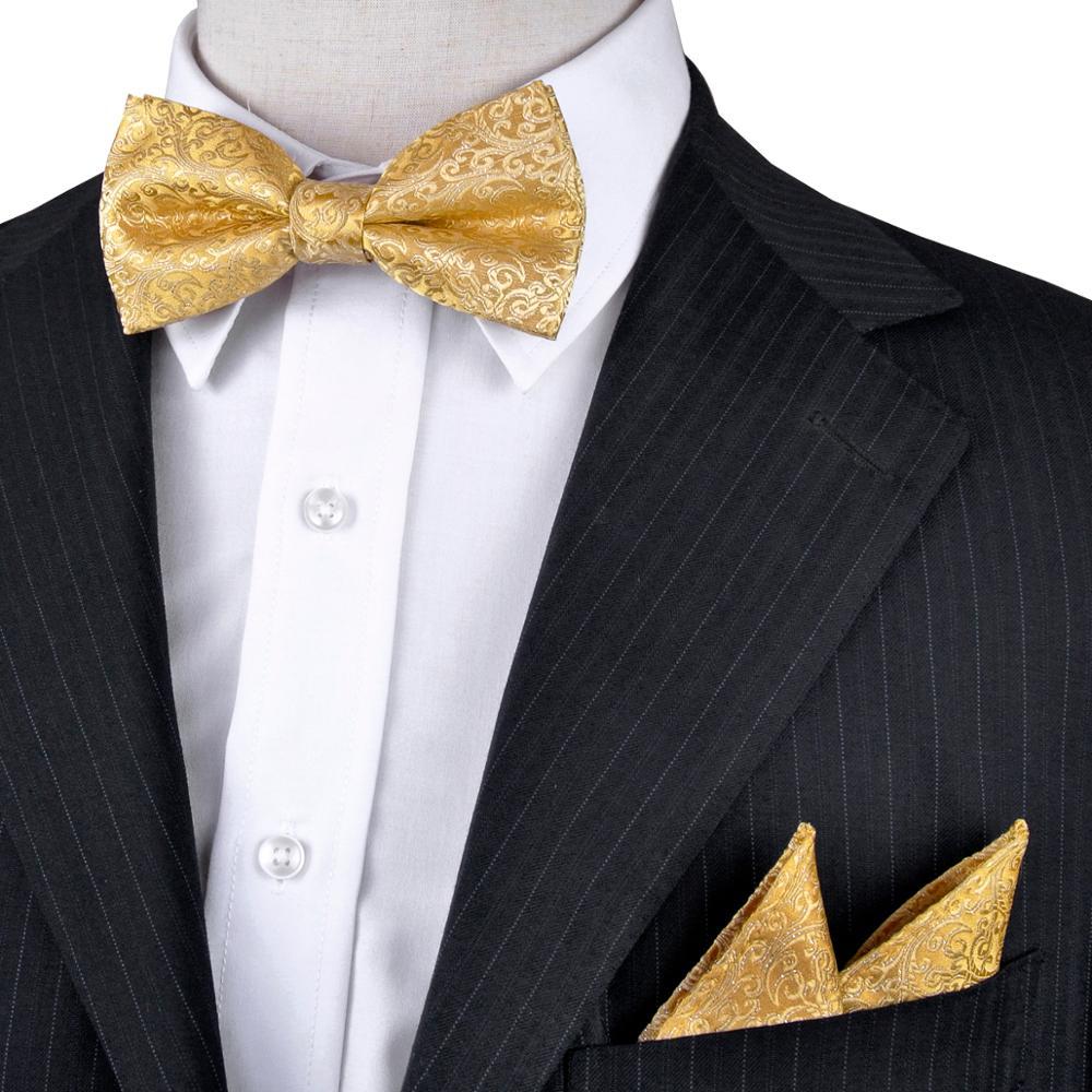Ingyenes házhozszállítás Geometriai virágos sárga arany férfi elkötelezett szmoking csokornyakkendő 100% selyem állítható divatos alkalmi esküvői fél