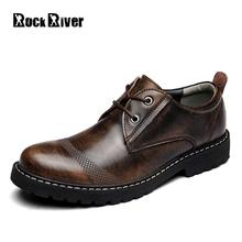 Rock River Brand Genuine Leather Chelsea Boots Men Office Ankle Boots 2017 Lace Up Business Casual Shoes Men Bota Masculina