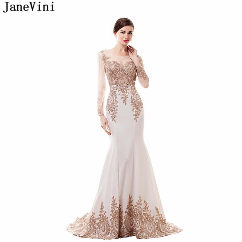 JaneVini Mermaid White Satin   Bridesmaid     Dresses   Scoop Neck Gold Lace Appliques Long Sleeves Sweep Train Women Prom Party Gowns