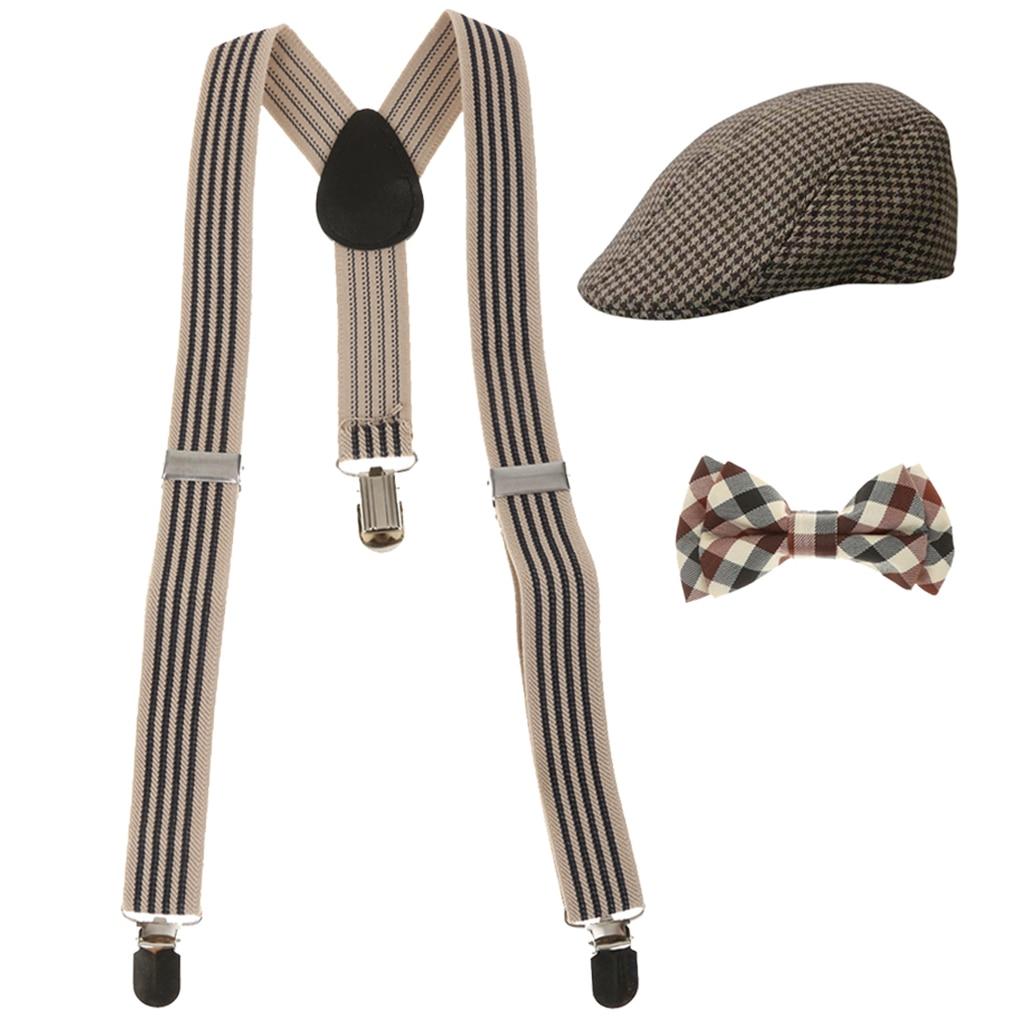 Fashion  Boys Stretchble Y-back Suspender Bowtie +Beret Cap Flat Hat Set Suspenders Accessories