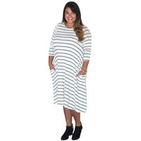 2017 Black And White Striped Dress Shirt Loose Fit Club Women Plus Size Dresses Xxxl Xxl