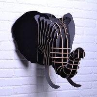 Резные деревянные Lucky голова слона висит декор стен, модные европейские DIY Дерево ремесел голова животного искусство домашнего декора реаль