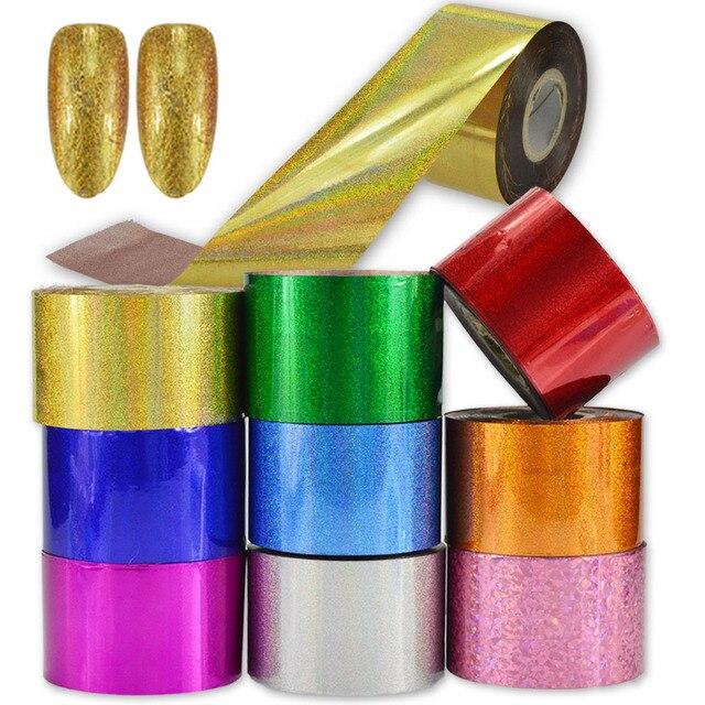 1 rollos Manicura transferencia 9 colores láser brillante vidrio ...