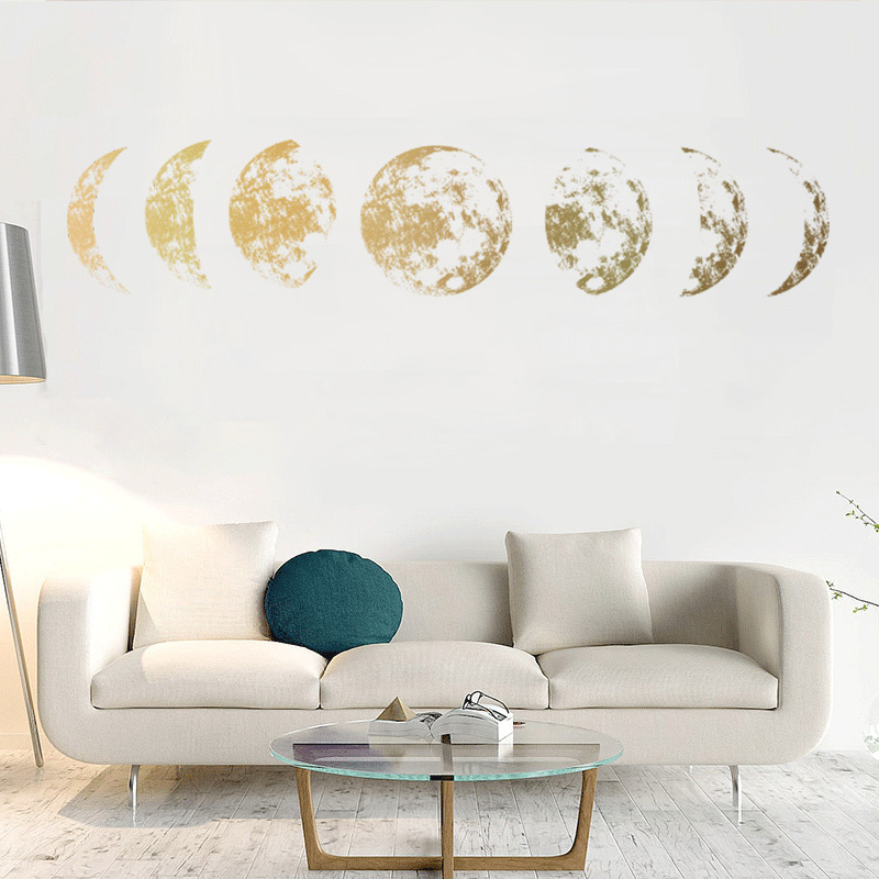 Us 266 36 Offcreative Moon Phase 3d Wall Sticker Home Living Room Wall Decoration Mural Art Decals Background Decor Moon Stickers In Wall Stickers