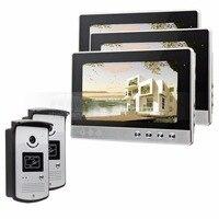 Diyseucr 10 дюймов видео телефон двери Дверные звонки охранных Видеодомофоны Системы RFID Камера Ночное видение 2 Камера s 3 мониторы