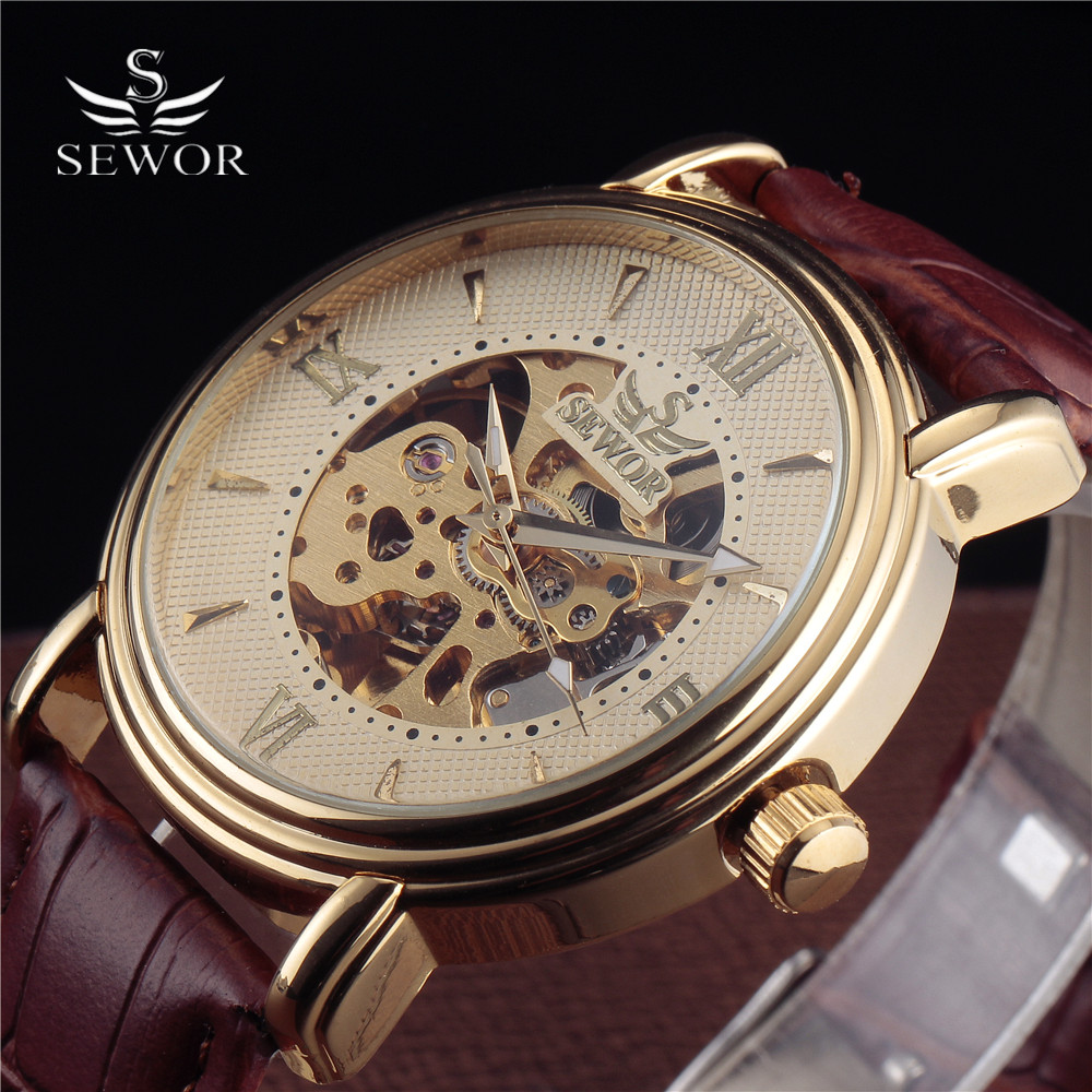 Top Brand Sewor Logo Men's Fashion Mechanical Wristwatch Roman Skeleton Dial Gold Case Leather Strap Luxury Automatic Watch Men full hunter smooth cooper pocket watch skeleton roman numbers dial mechanical automatic fob hour antique gift for men women