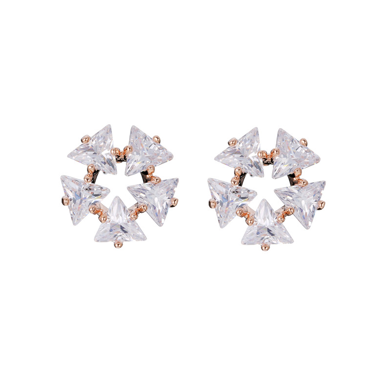 2019 New Hot Rose Gold/Silver Color Women Stud Earrings Clear AAA+ Cubic Zirconia Earring Jewelry Female Party Accessories золотые серьги по уху
