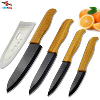 FINDKING Brand High sharp quality Bamboo handle with black blade Ceramic Knife Set tools 3 4 5 6 inch Kitchen Knives+Covers