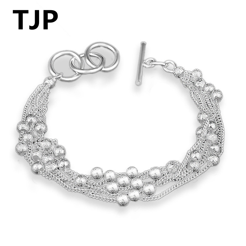 TJP Popular Frosted Metal Balls Design Bracelets For Women Party Accessories Fashion Girl Silver 925 Bracelet Jewelry Lover Gift