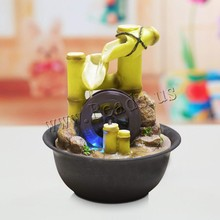 Chinese Rich Bamboo Indoor Water Fountains Feng Shui Fountain With Led Wheel Desktop Tabletop Decor Decorativas