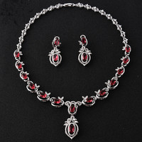 2016 New Design Red Blue CZ Africa Bride Jewelry Sets For Women Silver Plated With Long