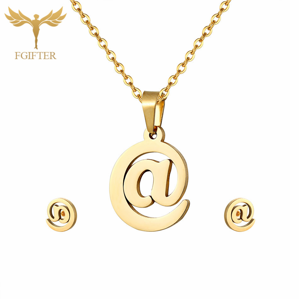 Trendy @ Design Pendant Jewellery Set for Party Stud Earrings Pendant Necklace Gold Stainless Steel Kids Jewelry