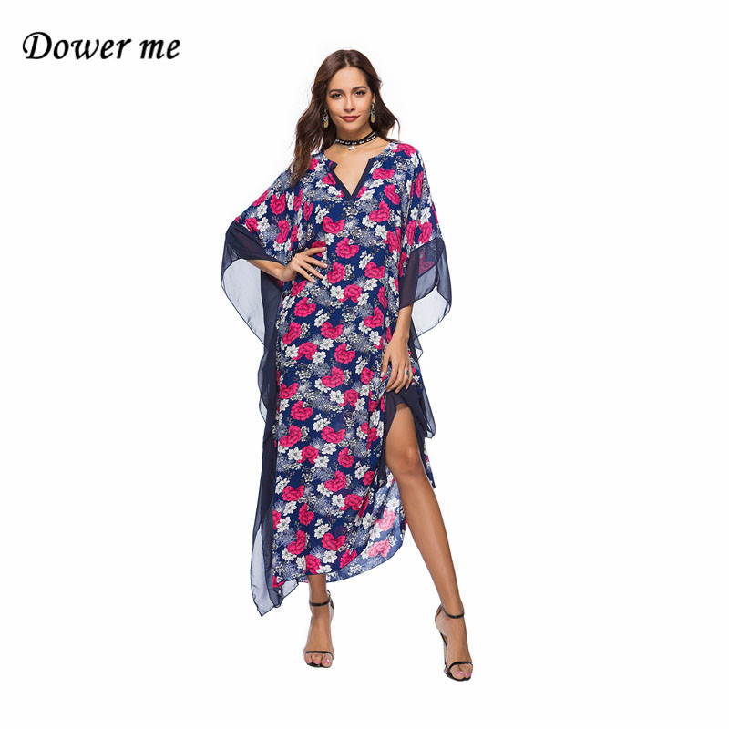 Bohemian Women Sexy V-neck Dress Vestidos Elegant Printing Ladies Beach Dresses Female Batwing Sleeve Frocks MSL102