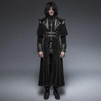 Готический крутой Кожаный Ремни длинный плащ пальто для мужчин Visual Kei стимпанк Черный повседневное длинная куртка накидка стиль