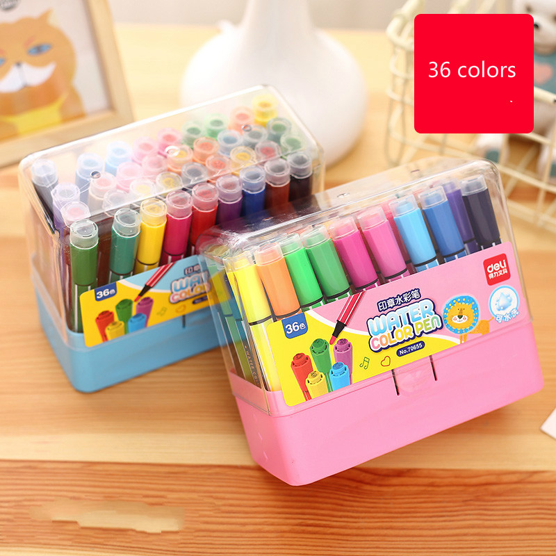 Free shipping 36 colors child belt stamp water wash brushes doodle pen deli 70655 art marker with stamp water color pen deli s557 marker pen