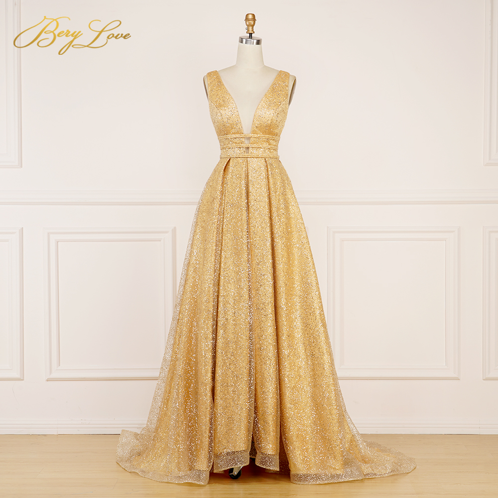 BeryLove Sparkle Sequin Bright Gold   Evening     Dress   2019 Long Prom Shiny Sexy vestidos de fiesta V Neck Open Back robe de soiree