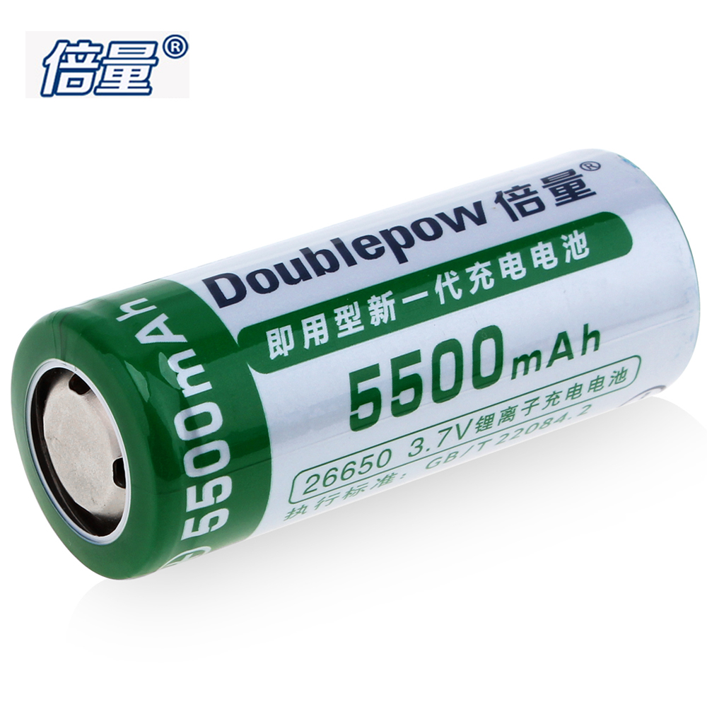 Doublepow 26650 Rechargeable Battery 3.7V 5500mAh High Capacity 26650 Li-ion Battery with 3A Charge Current + Battery Box Case