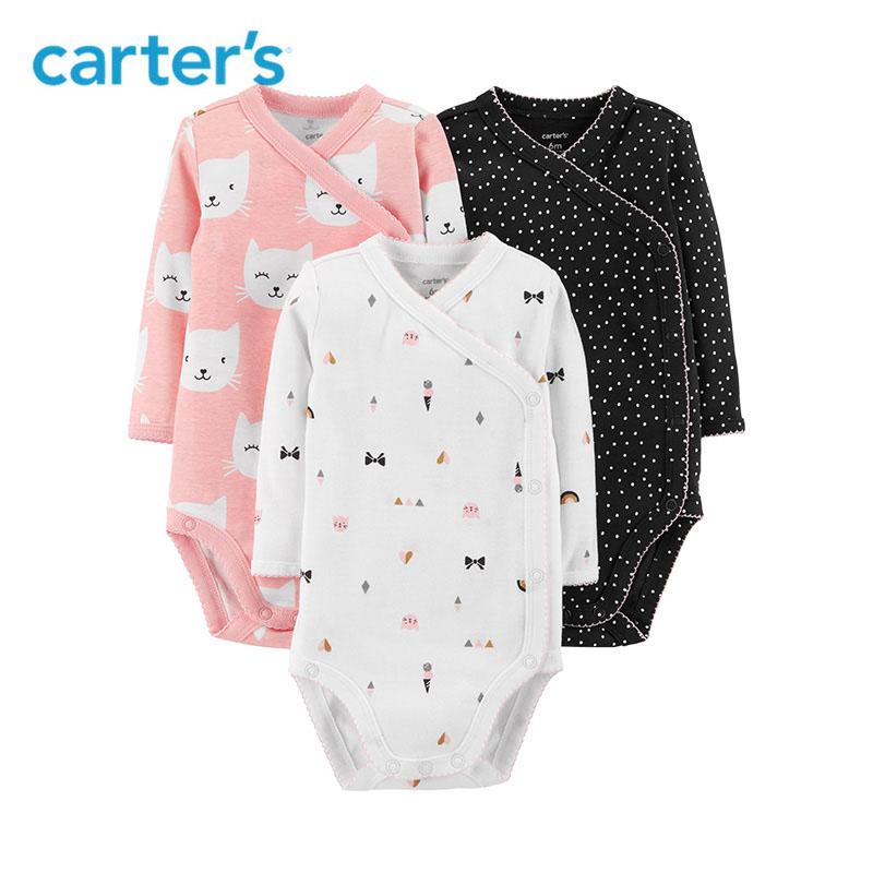 3Pcs Side-Snap Cute Cat Print Polka Dot Print Baby Bodysuits Long Sleeve Body For Newborns Carters Child Girl Clothes 126H437 stylish women s short sleeve polka dot print dress