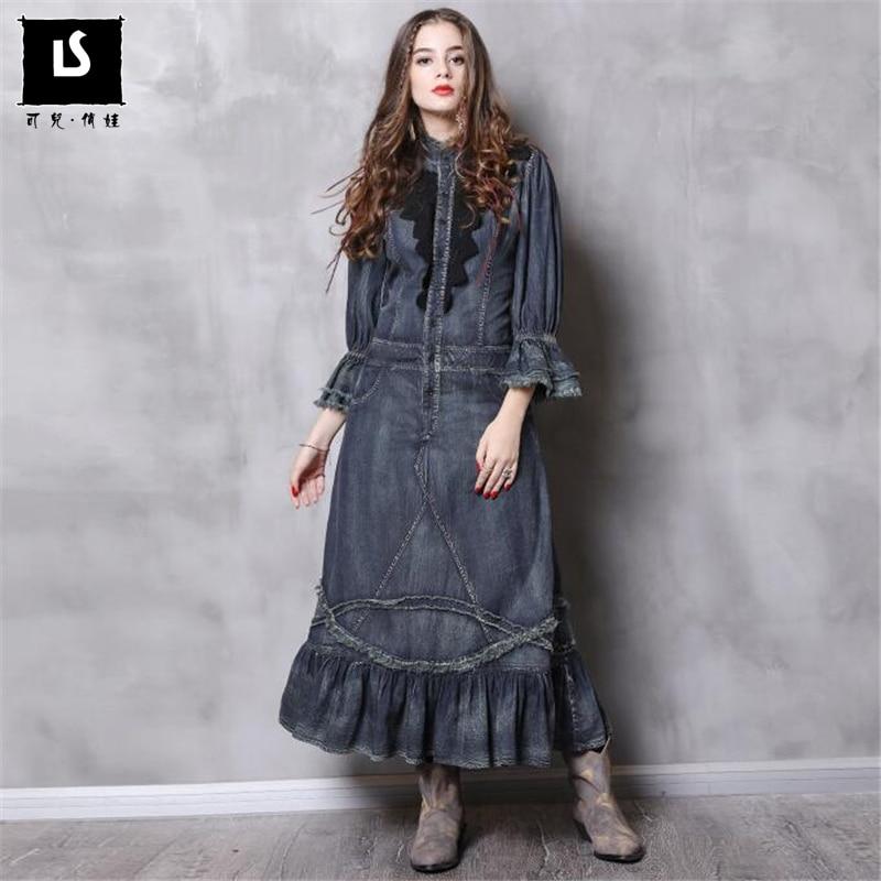 new autumn women denim dresses flare sleeves Vintage High waist ruffle dresses plus sizes Standing collar solid denim dresses-in Dresses from Women's Clothing    1
