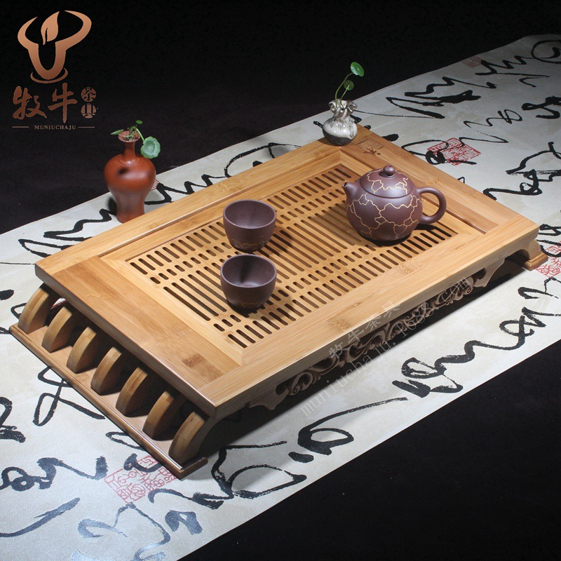 The tray filled with wisdom trumpet 56.5*29.5*7.5 gift tea set LOGO full custom mixed batch yixing kung fu tea set bamboo tea tray luxuries gift logo custom 54 24 5 4 store mixed batch