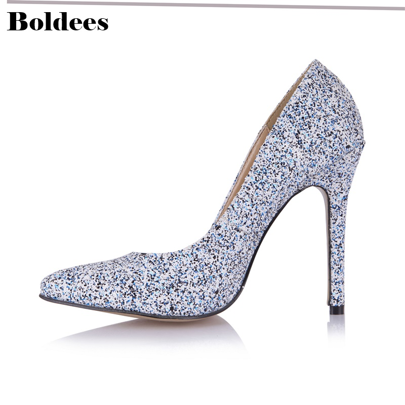 Shiny rhinestone bride wedding shoes woman glitter big crystal pointed toe stiletto high heeled pumps for party стоимость