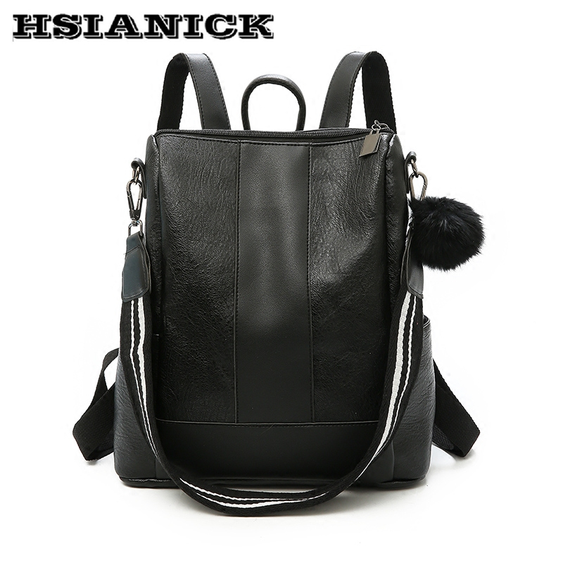 Backpack, Travel, Female, Leather, Version, Simple