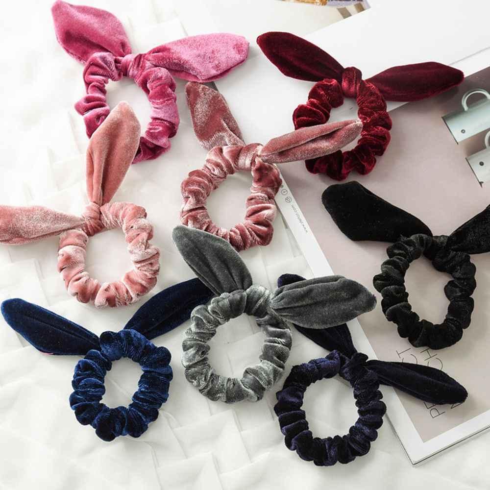 Женская Бархатная веревка для волос; байковая повязка на голову для девочек; аксессуары для укладки волос; мягкие эластичные резинки для волос с кроличьими ушками; инструмент для плетения волос