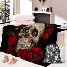 Dropship cráneo par manta Vintage gótico de Sherpa de portátil manta Floral adultos Textiles para el hogar