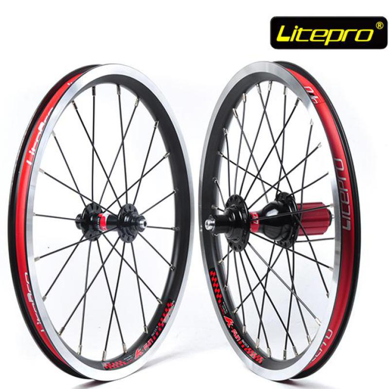 все цены на  Litepro KFUN Ultra Light 16 inch Folding Bike Wheels 74 130mm V Brake 20 28 Holes Bicycle Wheelset  в интернете