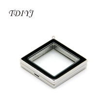 TDIYJ Free shipping Black and White Enamel Square Floating Locket 30MMx30MM Magnet Glass Memory Locket Pendant for Women Jewelry