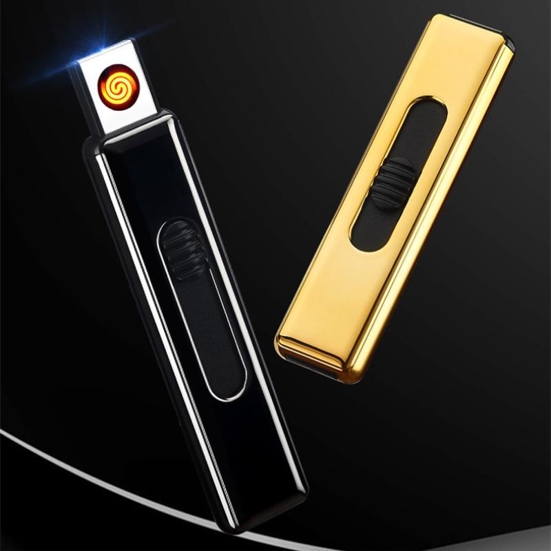 Mini Portable Double Side Ignition Cigarette Lighter Light Weight USB Electronic Lighter No Gas Lighter New Plasma Arc Lighter