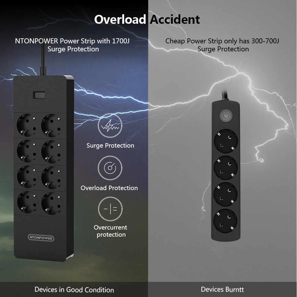 Ntonpower Multi-Plug Power Strip Eu Verlengsnoer Socket Surge Protector Met Usb Elektrische Plug Energy Saver Voor Thuis kantoor
