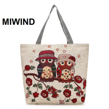 MIWIND Women Canvas Handbag Big Embroidery Owl Tote Female Daily Use Shopping Travel Shoulder Bag 2017 Summer Beach Bag Bolsa