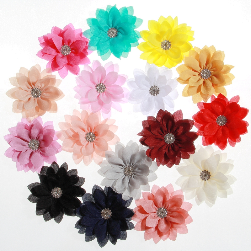 200PCS 3 4 8 5CM Fashion Lotus Leaf Flowers With Rhinestone For Hair Clips Chiffon Flowers