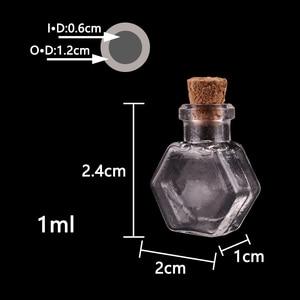 Image 2 - 50pcs Transparent hexagon Glass Bottle Jars Vials Wishing Bottle Cute Art Bottles with Corks Stopper DIY craft gift