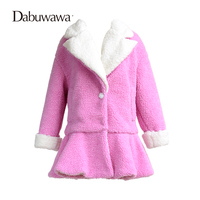 Dabuwawa Pink Faux Fur Winter Thick Ruffle Warm Coat A Line Winter Coats And Jackets Parkas