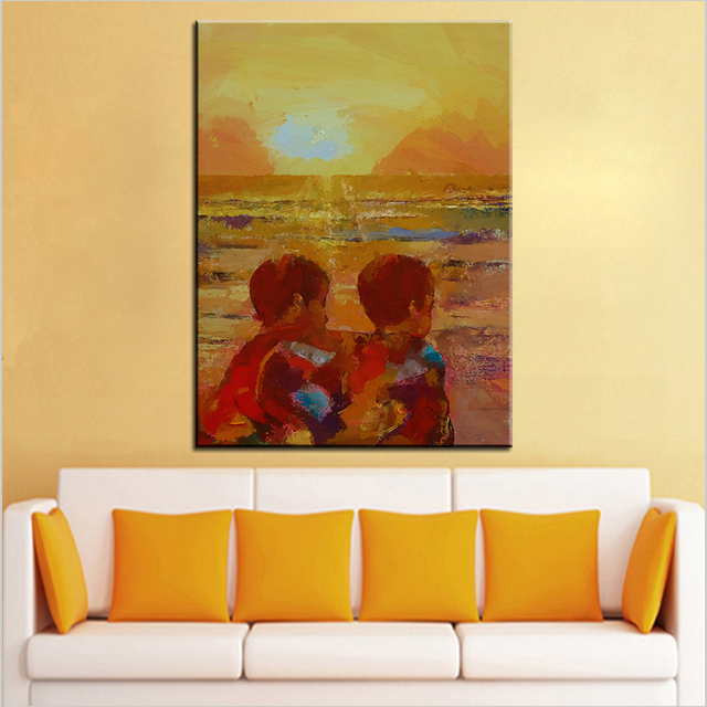 Aliexpress.com : Buy Large size Printing Oil Painting brothers Wall ...