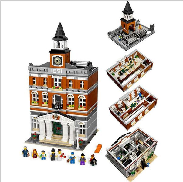 New 2859Pcs 2016 LEPIN 15003 Kid's Fuuny Toys The town hall Model Building Kits Building Blocks Bricks Gif