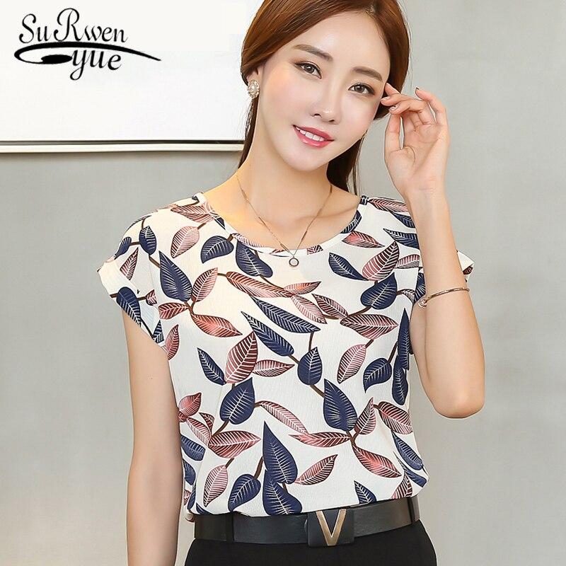 2019 fashion chiffon women   blouse     shirt   short Sleeve Print Plus Size women's clothing Loose Lady's striped Tops blusas 10B 30