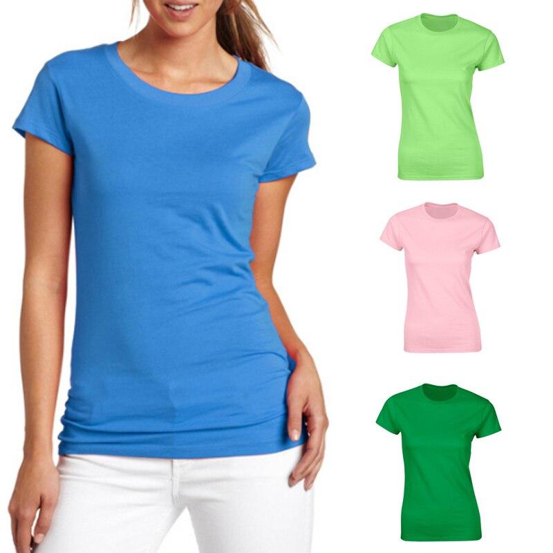 Women Summer T-shirts Round Neck Short Sleeves Slim Fit Minimalist Casual Tops H9