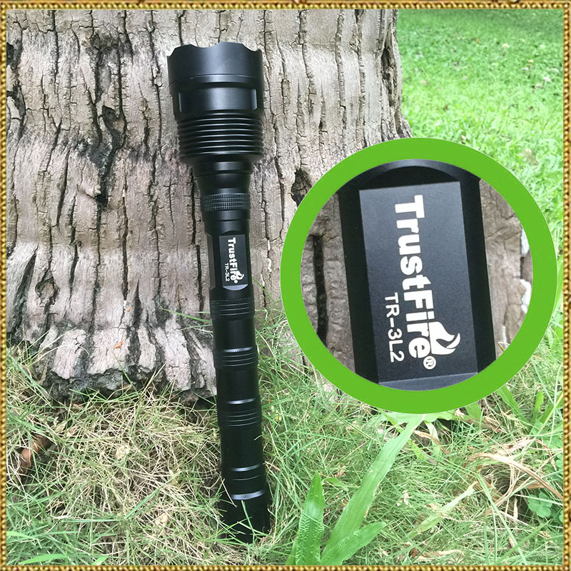 Original TrustFire( 3T6 TR-3T6) Upgrade (TR-3L2  3L2  )5-Mode 3800LM Memory 3-LED White Flashlight - Black (2x18650 / 3x18650 )