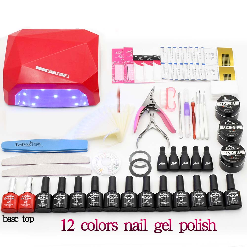 Nail art set 36W LED Lamp & UV Gel varnishes Nail polish Art Tools polish uv build gel base top coat nail Set Kit manicure tools nail art tools kit set 36w uv lamp